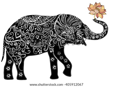 elephant.Silhouette of elephant. Indian elephant.  - stock vector