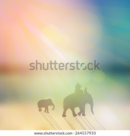 Elephant with mahout and small elephant silhouette on sunny sky and beach background. Vector - stock vector