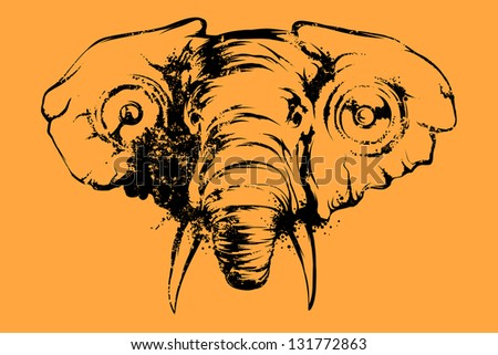 elephant with speakers in your ears - stock vector