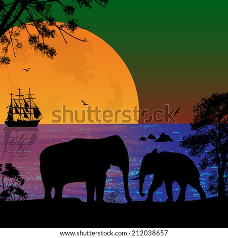 Elephants in beautiful seascape at sunset near ocean, vector illustration - stock vector