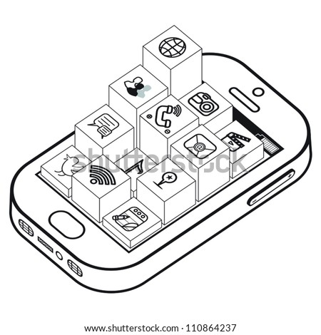 Elevated black and white apps coming out of smartphone. - stock vector