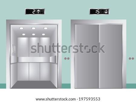 Elevator design over blue background, vector illustration - stock vector