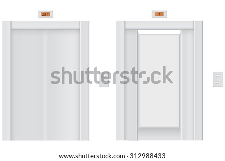 Elevator with closed doors and  with open doors. Vector isolated on white. - stock vector