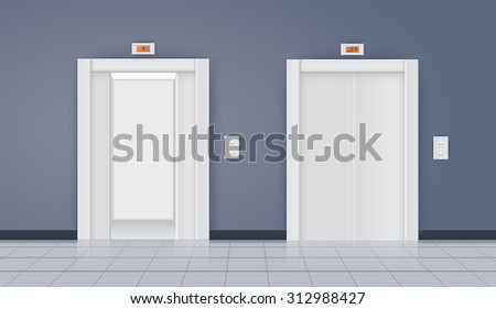 Elevator with open doors and  with closed doors. Vector isolated on white. - stock vector