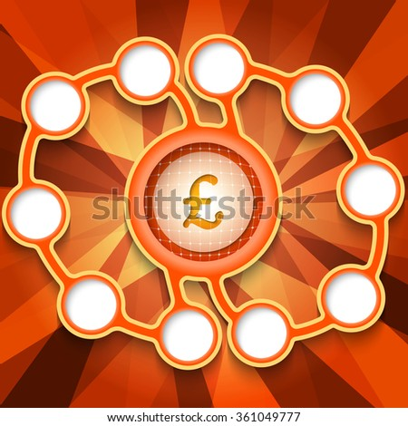 Eleven abstract circular boxes for your text and pound sterling symbol - stock vector