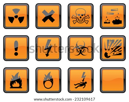 Eleven individually grouped glossy hazard warning signs, with one blank sign for your additions.  - stock vector