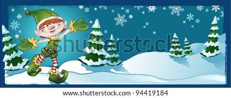Elf Banner Winter Landscape - stock vector