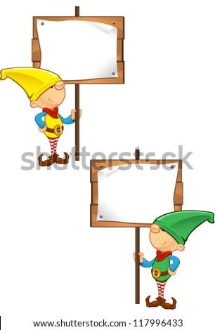 Elf Mascot - Holding Wooden Sign - stock vector