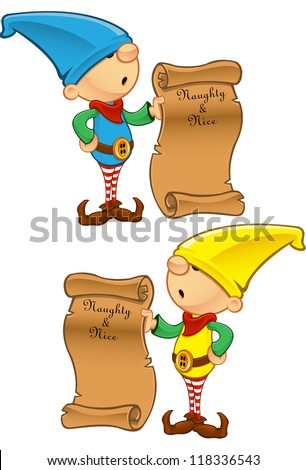 Elf Mascot - Naughty Or Nice List - stock vector