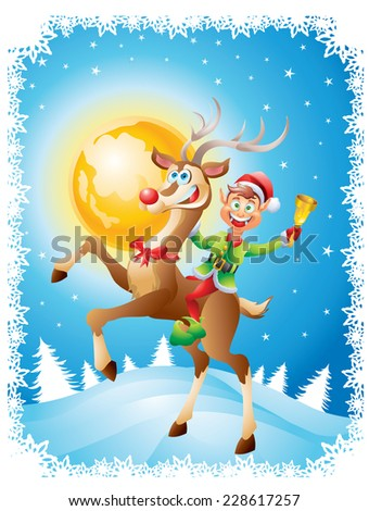 Elf riding reindeer with bell on christmas background - stock vector