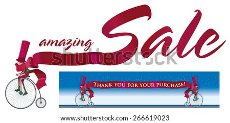 Elf wanders on a antique bicycle with a ribbon that says amazing Sales Also you can place text in this ribbon. - stock vector