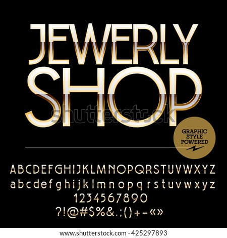 Elite set of silver and golden alphabet letters, numbers and punctuation symbols. Vector logotype with text Jewerly shop - stock vector