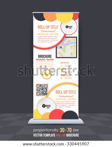 Ellipse Elements Style Business Theme Roll-Up Banner Template, Vertical Advertising Vector Design - stock vector