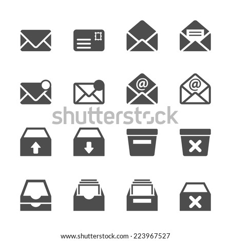 email and mailbox icon set, vector eps10. - stock vector