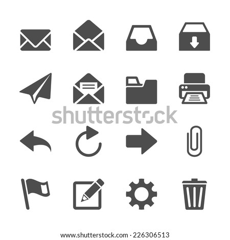 email application icon set, vector eps10 - stock vector