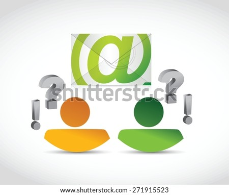 email correspondence people questions illustration design over white background - stock vector
