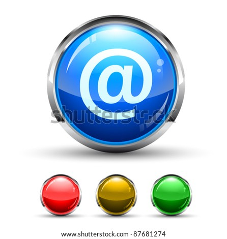 Email Cristal Glossy Button with light reflection and Cromed ring. 4 Colours included. - stock vector