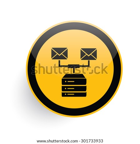 Email,database icon design on yellow button background,clean vector  - stock vector