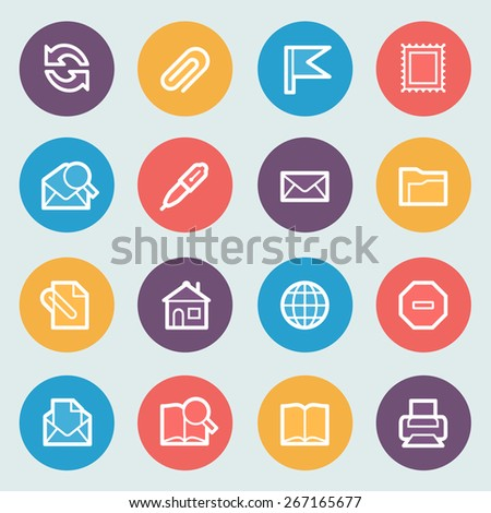 Email flat contour icons on colors buttons. - stock vector