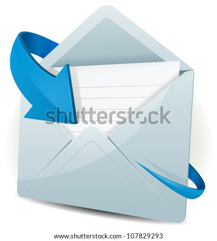 Email Icon With Blue Arrow/ Illustration of an email reception icon envelope with blue arrow orbiting around, for contact us and feedback symbols - stock vector