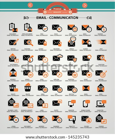 Email icons,Orange version,vector - stock vector
