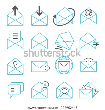 email icons set, message icons set - stock vector