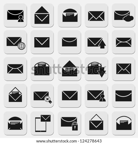 email icons set modern design - stock vector