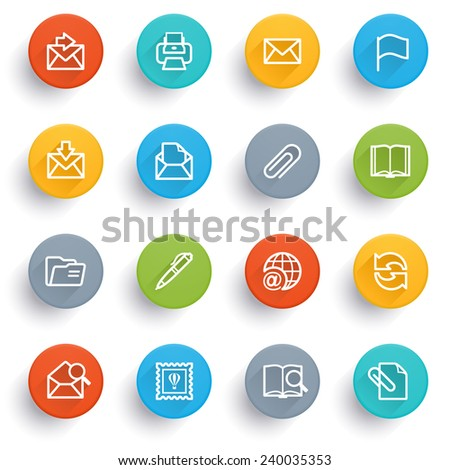 Email icons with color buttons. - stock vector