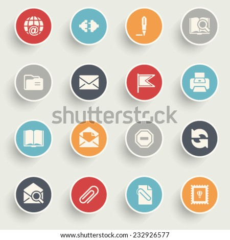 Email icons with color buttons on gray background. - stock vector