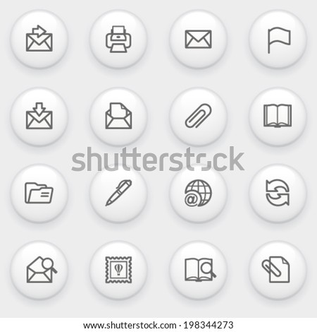 Email icons with white buttons on gray background. - stock vector