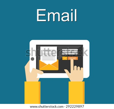 Email illustration. Sending email concept illustration. flat design. - stock vector