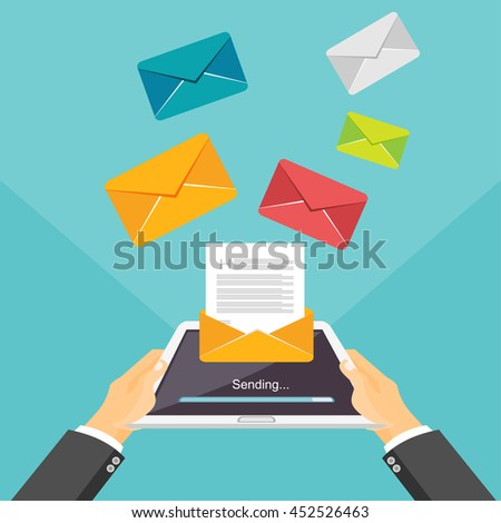 Email illustration. Sending or receiving email by tablet or smartphone concept illustration. Email marketing. Broadcast messages. - stock vector