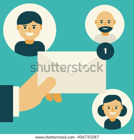 Email in hand and friends. Flat design. Vector illustration. - stock vector