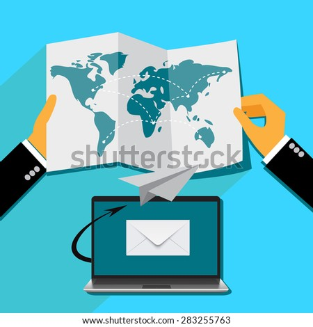 email marketing concept in flat style, Vector web design and infographic - stock vector