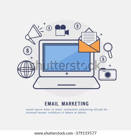 Email Marketing concept with creative Infographic elements and laptop. - stock vector