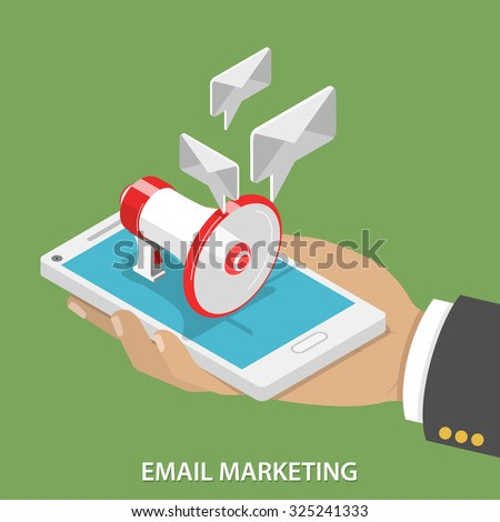 Email Marketing Flat Isometric Vector Concept. Mans hand takes a smartphone with megaphone and soaring e-mails like speech bubble on it. - stock vector