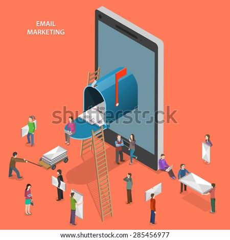 Email marketing flat isometric vector concept. People walk near mobile phone with mailbox on its screen. - stock vector