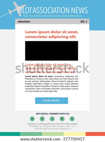 Email marketing newsletter template with airplane theme - stock vector
