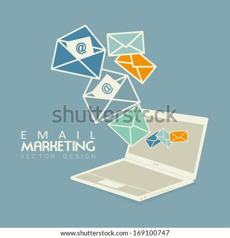 email marketing over blue background vector illustration - stock vector