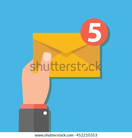Email message concept. New, incoming message, sms. Hand holding envelope, letter.  - stock vector
