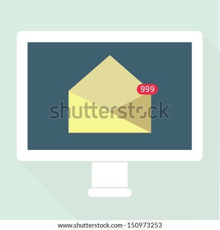 Email Notification flat design - stock vector