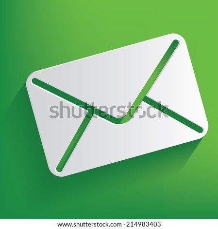Email symbol on green background,clean vector - stock vector