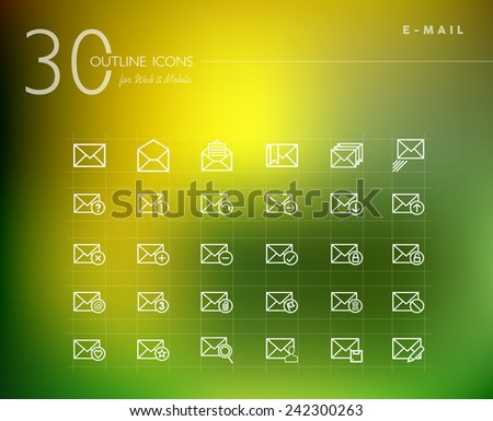 Emailing status line icons set for web and mobile app. EPS10 vector file organized in layers for easy editing. - stock vector