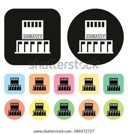Embassy icon. Government Building icons - stock vector