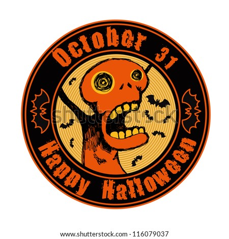 """emblem """"happy halloween"""" with screaming weird character and bats. vector illustration. - stock vector"""