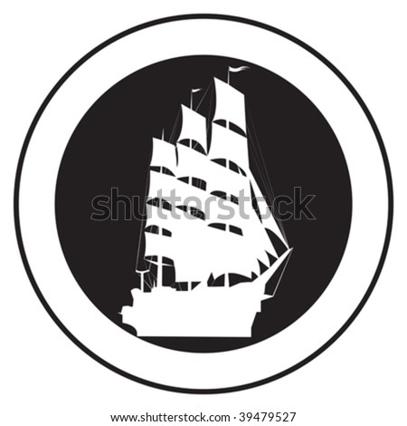 Emblem of an old ship, vector stamp - stock vector