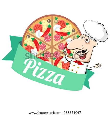 Emblem with pizza and cartoon Italian cook - stock vector