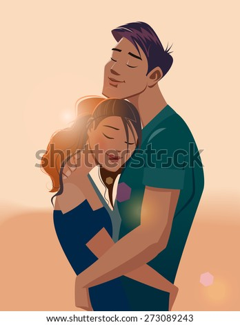Embraces of a loving couple - stock vector