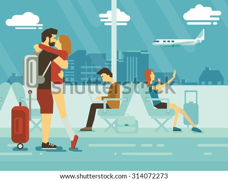Embracing Couple and people sitting in airport terminal flat design - stock vector