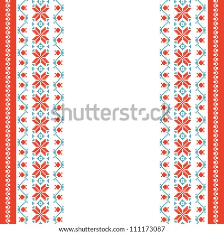 Embroidered background in folk style with space for text - stock vector